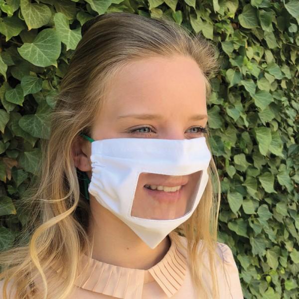 """Mund- und Nasenmaske """"Standard"""" - mit Sichtfenster (antifog), eingenäht, mit Nasenbügel"""